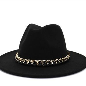NEW Black Wide Brim Fedora Lace Gold Chain Band